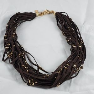 Marlyn Schiff leather multi strand beaded necklace